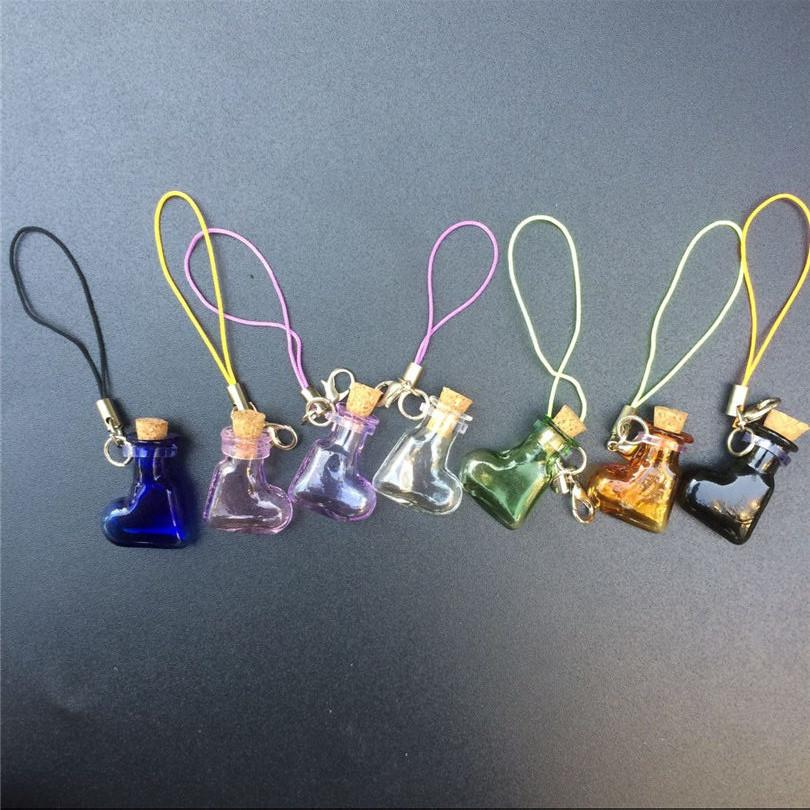 Mini Glass Bottles Pendant With Key Chains Lobster Clasp Bottles Handmade Pendant Gift Bottles Mix 7Colors3