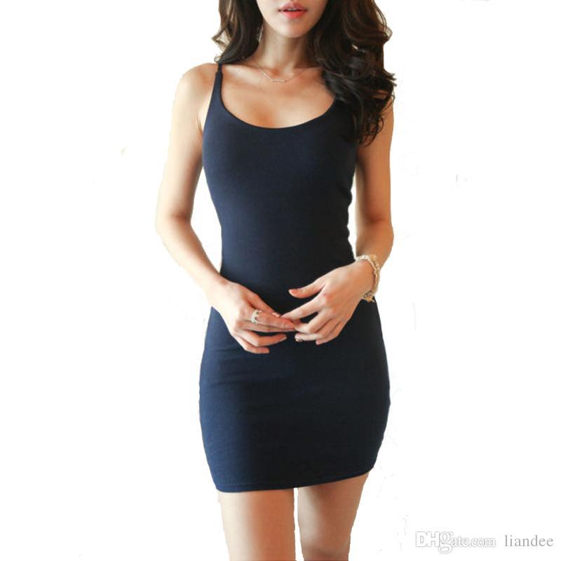 Moda Sexy Mulheres Camisola Stretchy Spaghetti Strap Tanque Longo Deslizamento Mini Vestido Senhoras Escritório Vestidos