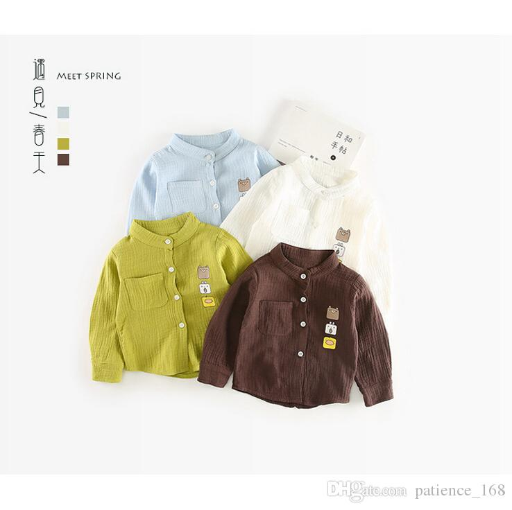 4 color 2018 INS NEW ARRIVAL boys Girls Kids long Sleeve cartoon anmial Square face high quality cotton kids casual shirt free shipping