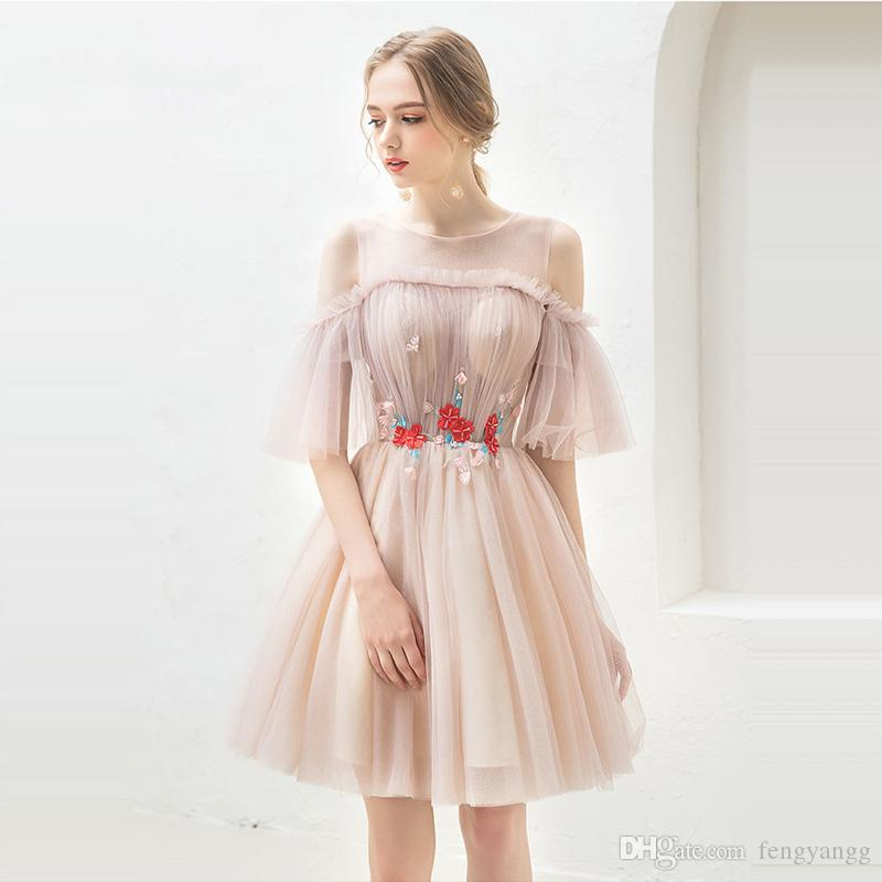 2018 Fashion Cocktail Dress Summer Women Party Knee Length Fashion Designer Flower Pattern Short Cocktail Gowns
