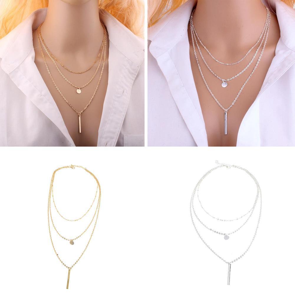 Ожерелье блесток газа кулон женщин Моды многослойные колье длинные ювелирные изделия
