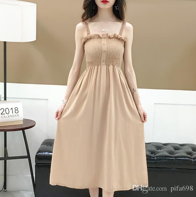 2018 летний новый стиль талии шифоновое платье, девушка сердце фея платье, ретро нежный ветер ремень юбка. Платье брекеты юбка