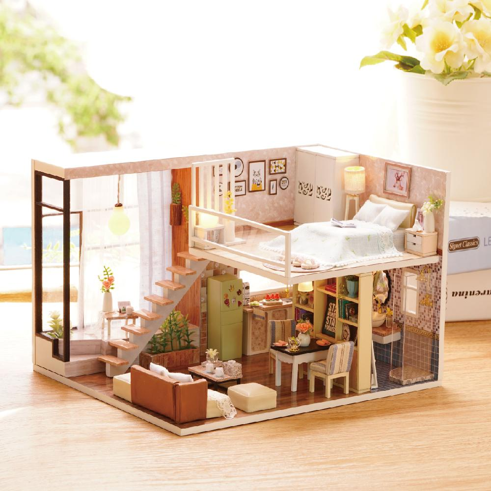DIY Dollhouse Miniature Kit Wood Cover Creative Toy Doll House Cottage For