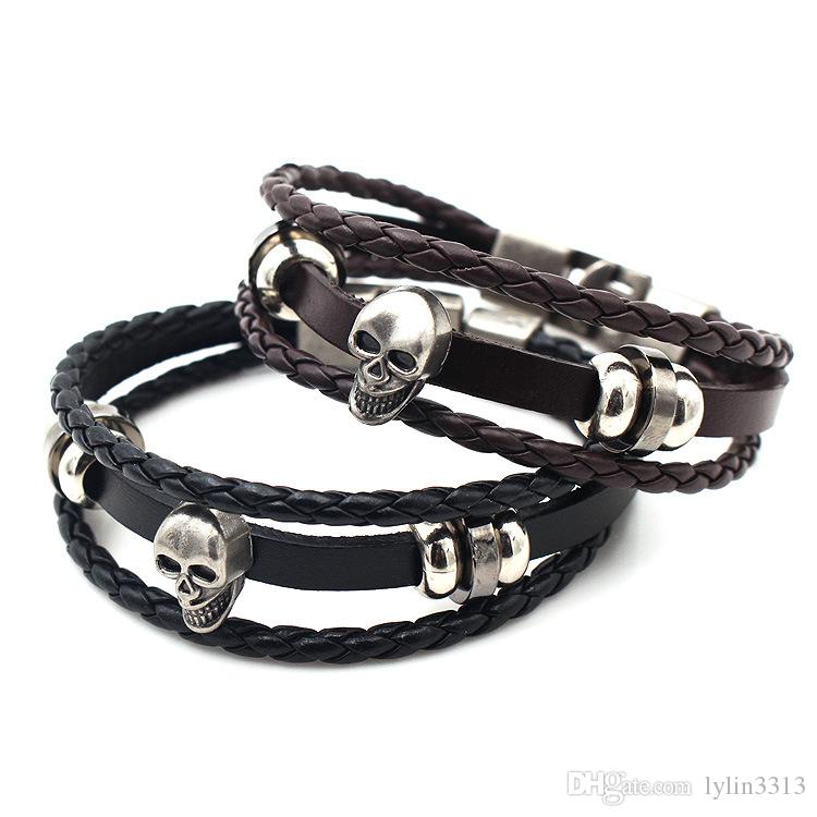 Vintage Bracelets Men Fashion Black Leather Skeleton SKULL Charm Bracelets Bangles Jewelry Male Multilayer Hand Rope Pulseira D