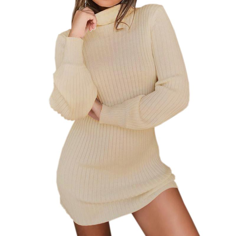 8b698931c256 Warm Autumn Turtleneck Long Sleeve Femme Casual Knit Mini White Dresses  Women Winter Bodycon Solid Knitted Dress Plus Size GV055