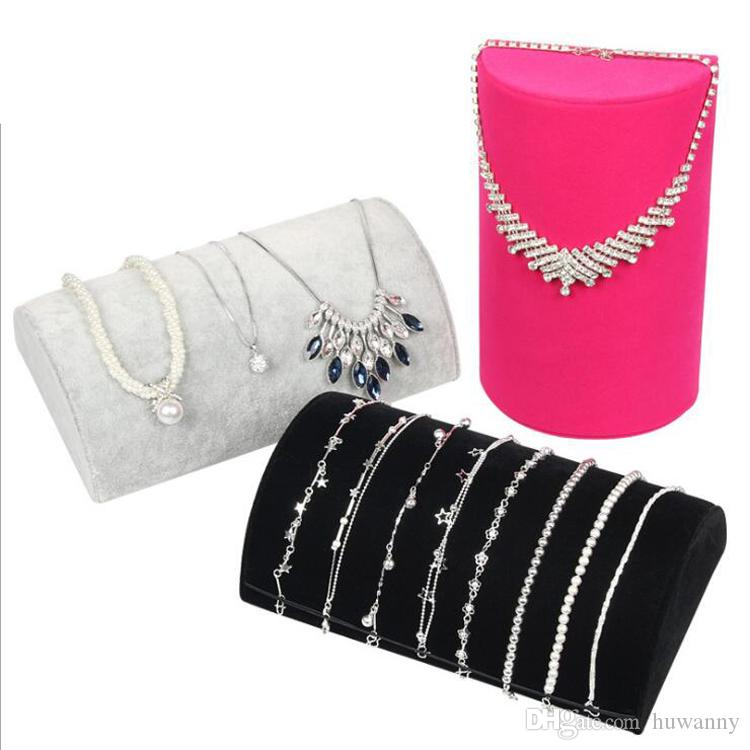 Necklace Bracelets Stand Display Full Velvet Jewelry Rack Showing Stand Storage Different Colors Show Shelf Wholesale Free Shipping 0730WH