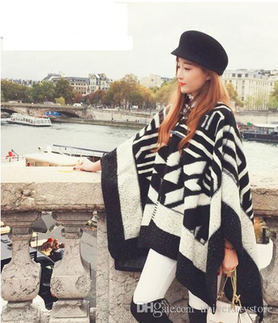 Winterfrauen Schal mit Hut Strickjacke Schnalle große Macht lang Kaschmir verdickt warme Tücher Damen Fringe Poncho Shawl