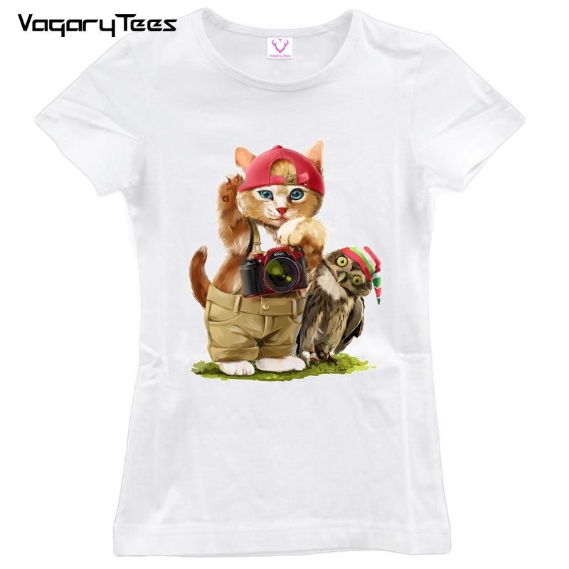 Women's Tee 2018 New Arrival Watercolor Style Cat / Owl Vintage Printed Women Casual T Shirt Retro Hand Painted Design Cute Gril Tops / Tee