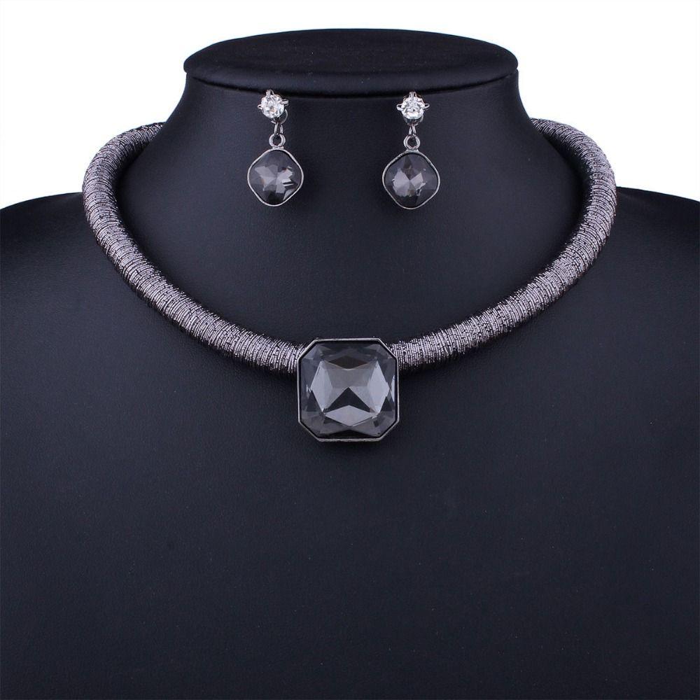 Новые ювелирные наборы Rhinestone себе ожерелье наборы для женщин большие ювелирные изделия