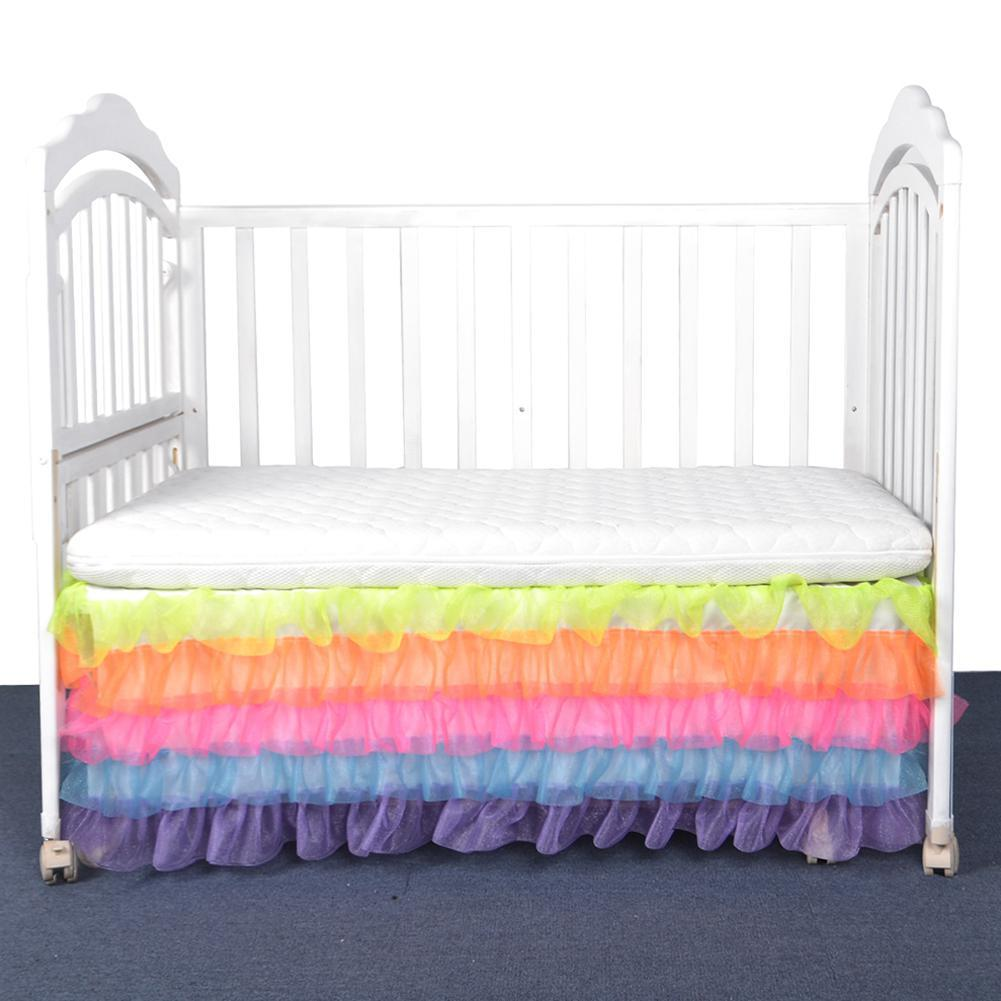 Adeeing Prey Rainbow Colour Bed Skirt Maress Cover for Kids Bedroom Decoration Bedding Supplies
