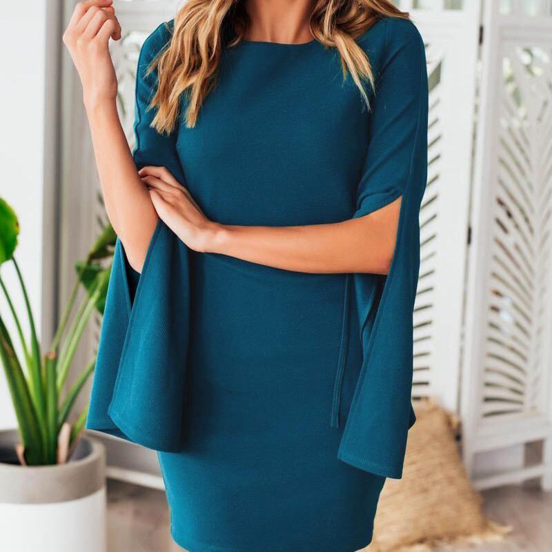 Mulheres verão vestido cor azul sexy slim manga pétala vestidos bainha apertada partido senhoras elegante design hip pacote fino bodycon dress