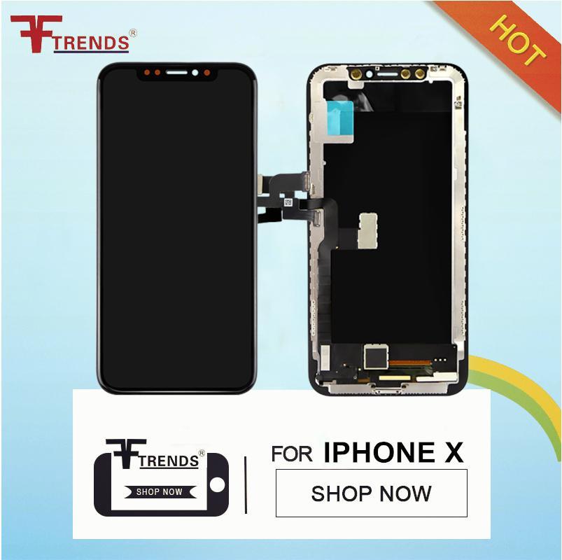 100% teste de alta qualidade tft lcd substituição para pantalla iphone x display 3d digitador assembléia tela de toque preto cor