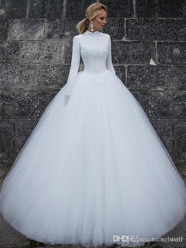 Lindo Bola vestidos de casamento Vestido de 2018 Colarinho alto até o chão Branco Tulle muçulmana Vestidos de casamento Long Sleeve Lace vestido nupcial