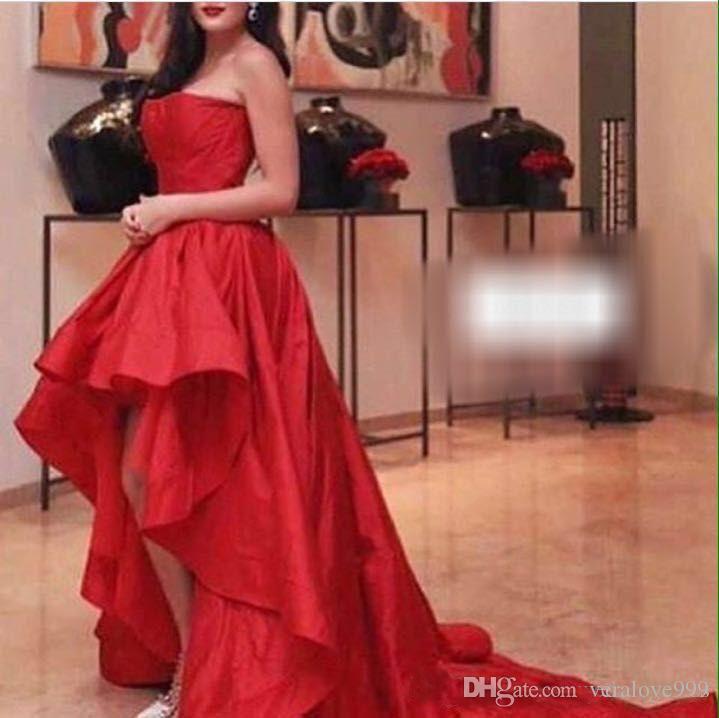 Mode Haut Bas Rouge Robes de soirée bustier Robes de bal Retour Fermeture éclair avec volants en taffetas Custom Made Cheap Sale Hot Party Dress Formal