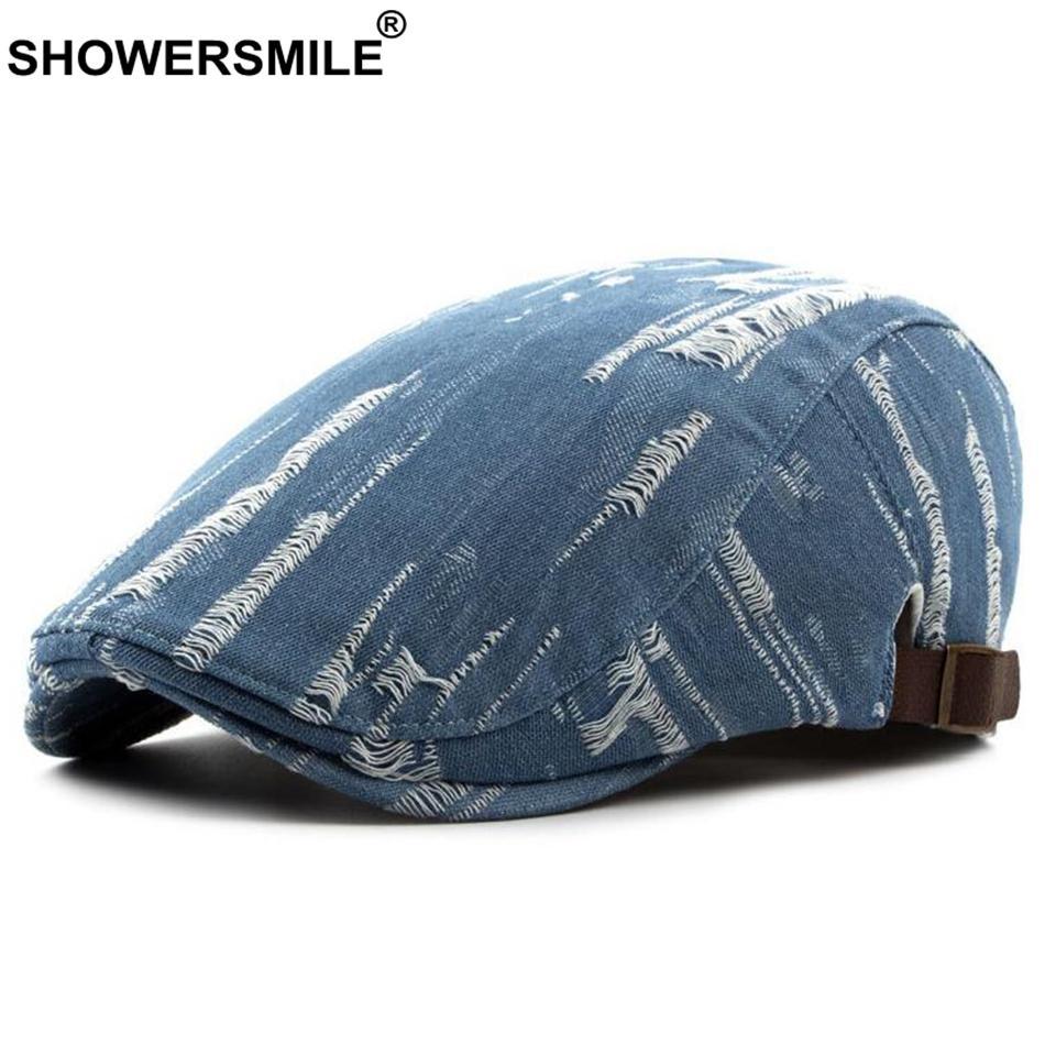 SHOWERSMILE Denim Beret Hat For Men Jeans Vintage Casual Flat Cap Women Summer Autumn British Adjustable Classic Duckbill Caps