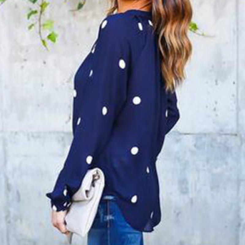 Moda Chifon Camisas Polka Dot Imprimir Otoño Primavera Mujeres Blusas de manga larga Damas Casual Tops Femme Blusas Camisas Femme GV175