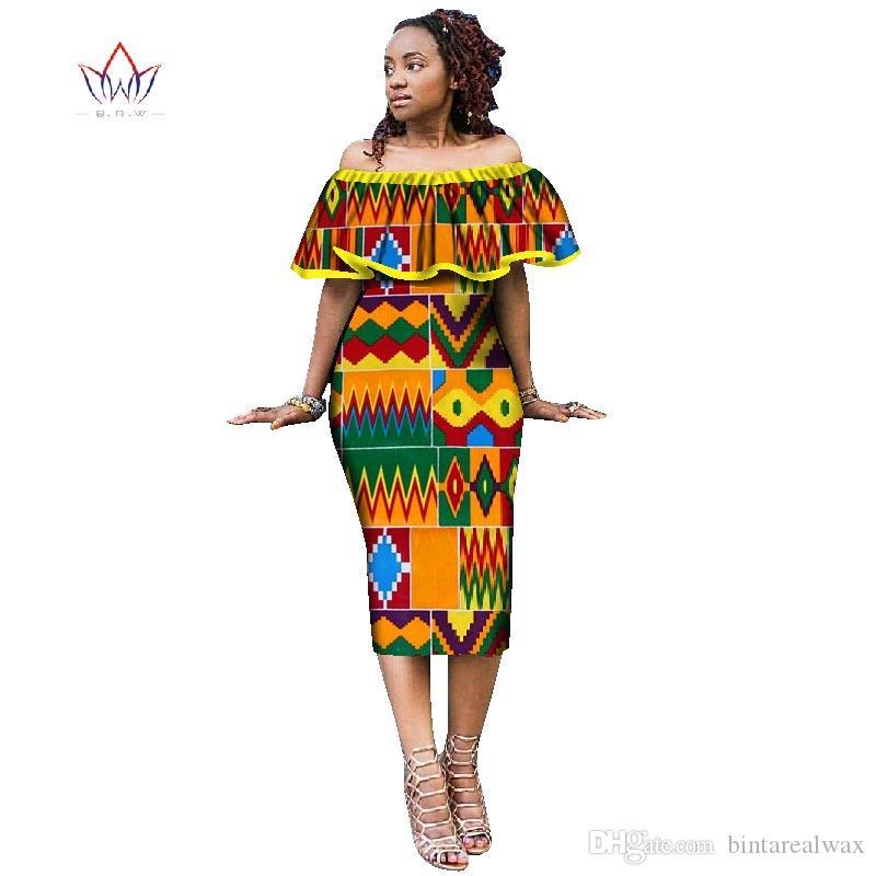 فساتين الأفريقية للمرأة نمط الأفريقية طباعة زائد الحجم حزب منزعج فساتين السيدات مثير نادي اللباس قبالة ينبغي WY1868