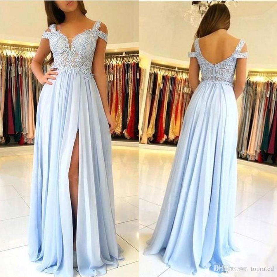 2019 Sky Blue A Line Prom Dresses Pizzo Applique Cap maniche Backless Side Split floor-lunghezza Chiffon Plus Size Pageant Party Abiti da sera