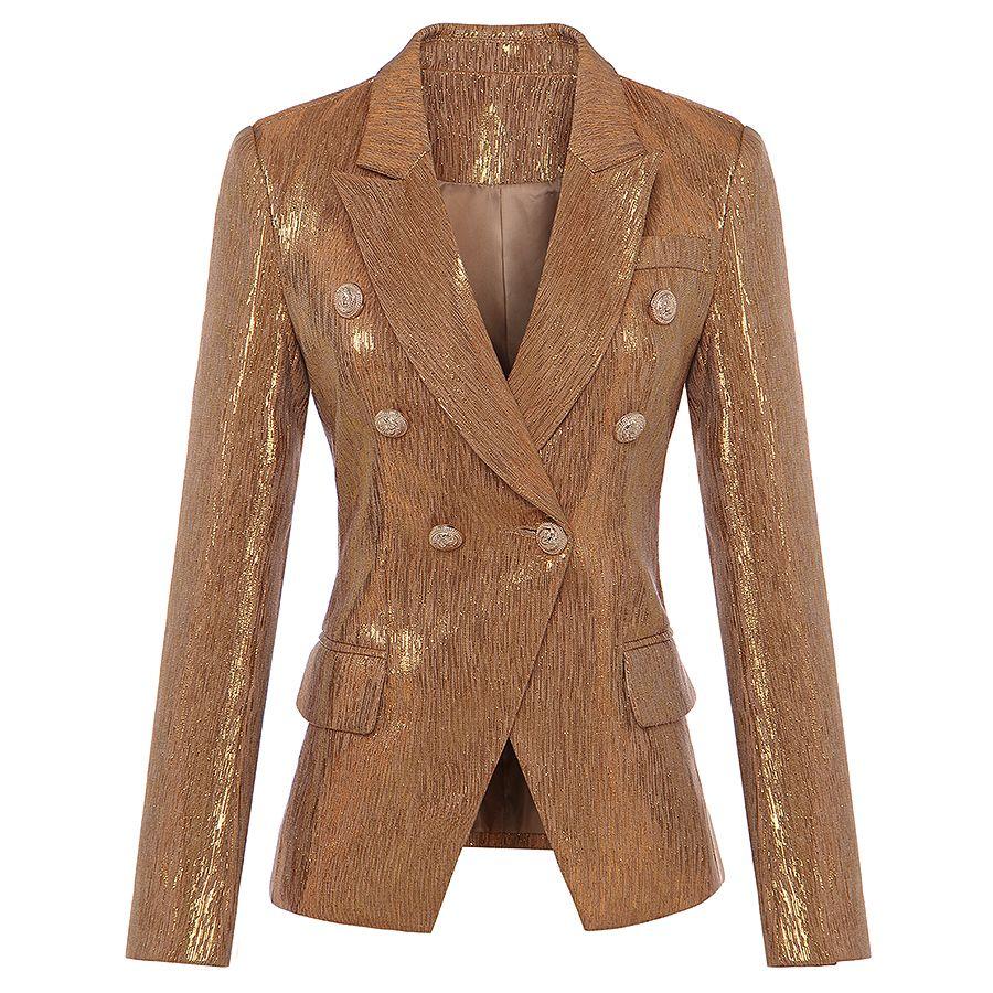 Novo moda outono inverno 2017 designer blazer mulheres leão metal botões duplo breasted blazer jaqueta casaco externo