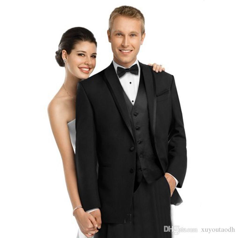 2018 Men Suits Black Shawl Lapel Wedding Suits For Man Bridegroom Groom Slim Fit Tuxedos Formal Prom Blazer Evening Dress Best Man 3Piece
