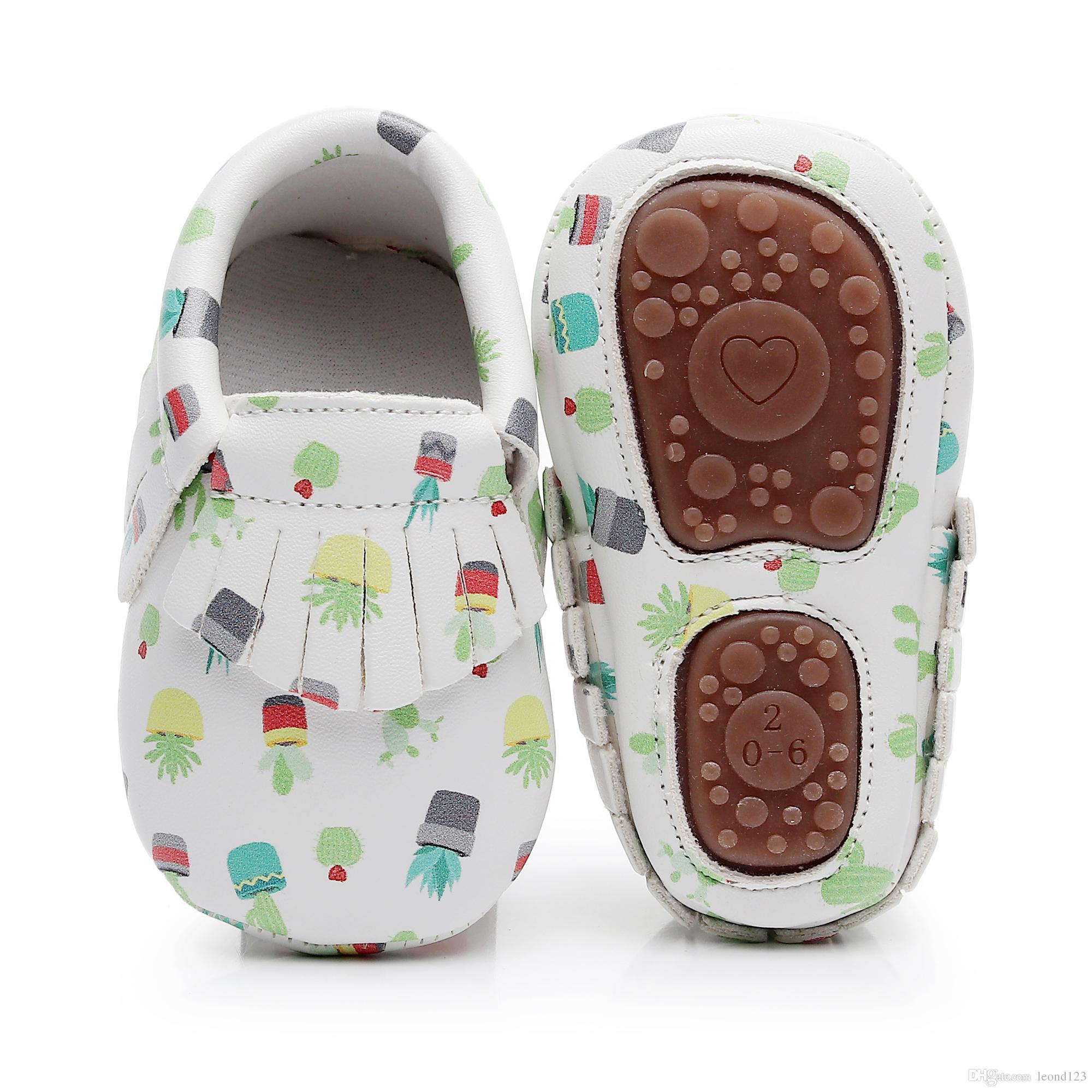 hot sell hard sole floral print PU Leather Fringe baby moccasins baby shoes Non-slip first walkers handmade shoes