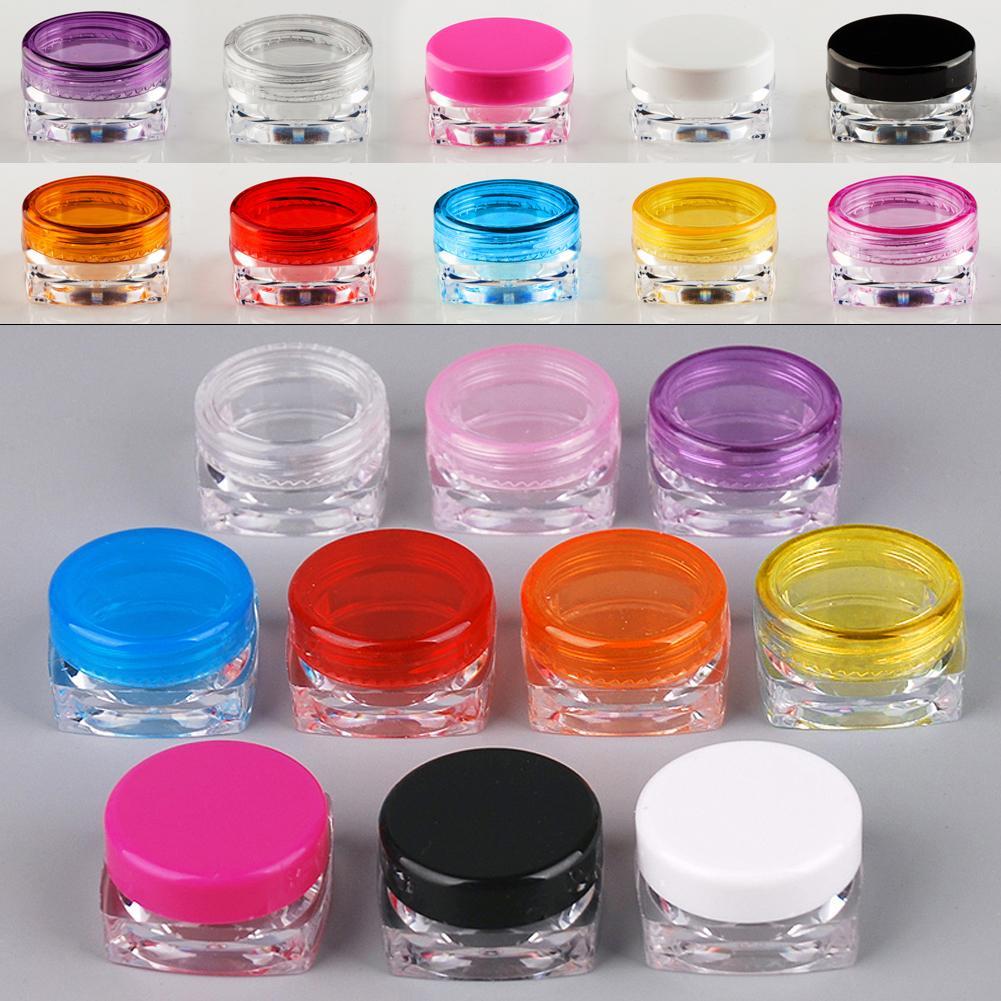 50 ADET 5g renkli elmas şekli boş kozmetik kapları vidalı kapak örnek kapları kavanoz cilt bakımı krem kavanoz pot teneke