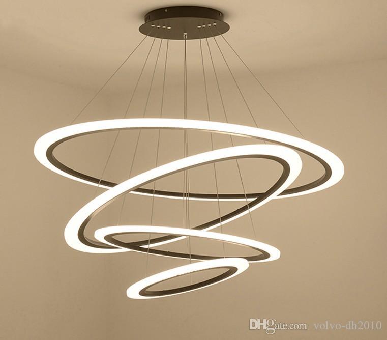 Современные светодиодные подвесные светильники лампа для гостиной блеск подвесные светильники с 30 см / 50 см / 70 см одиночные кольца для столовой LLFA