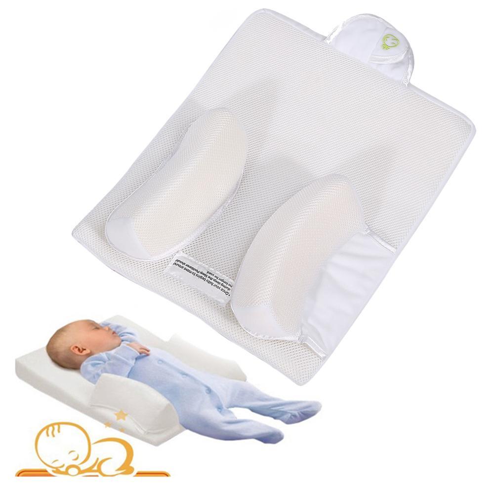 유아용 안티 롤 베개 유아용 수면 방지 플랫 헤드 포지셔너 베개 쿠션 신생아 벤트 안전 잠자는 거