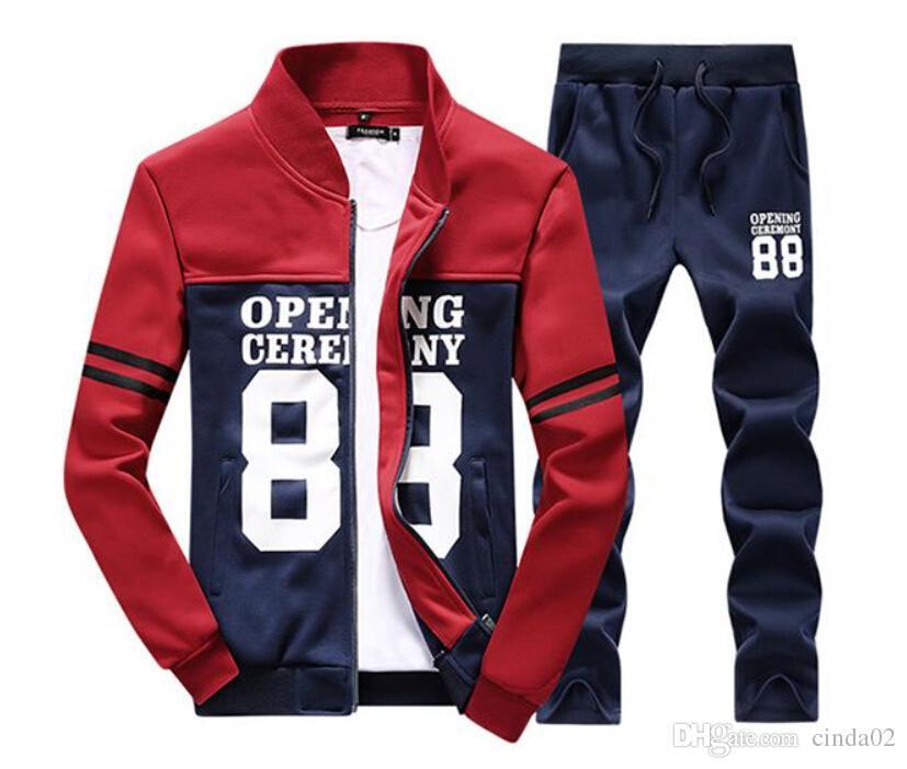 En gros Hommes Veste Pantalons Jogging Jogger Ensembles Col Roulé Sports Survêtements Sweat Costumes Mode Sportswear livraison gratuite