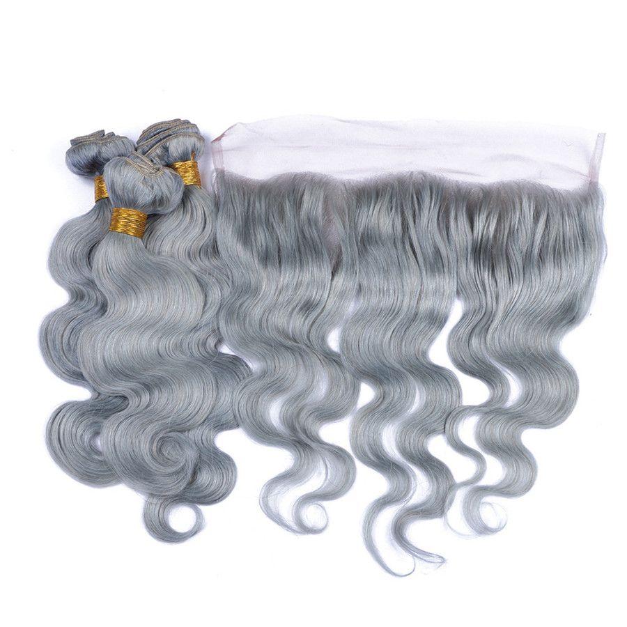 El pelo brasileño virginal brasileño del cabello humano gris plateado teje 3 paquetes con encaje completo Frontal del cuerpo Onda coloreada Paquete de cabello humano color gris Ofertas