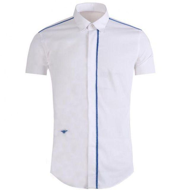 2018 Мужская рубашка с коротким рукавом разрез вышивка дизайн классический Пчелка вышивка черный белый с коротким рукавом мужчины рубашка M L XL 3XL