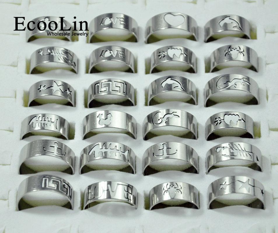 50Pcs Hot Vente en gros Lots mixtes Mode ajourées Motif anneaux en acier inoxydable pour hommes et femmes Bijoux vracs Packs LB117
