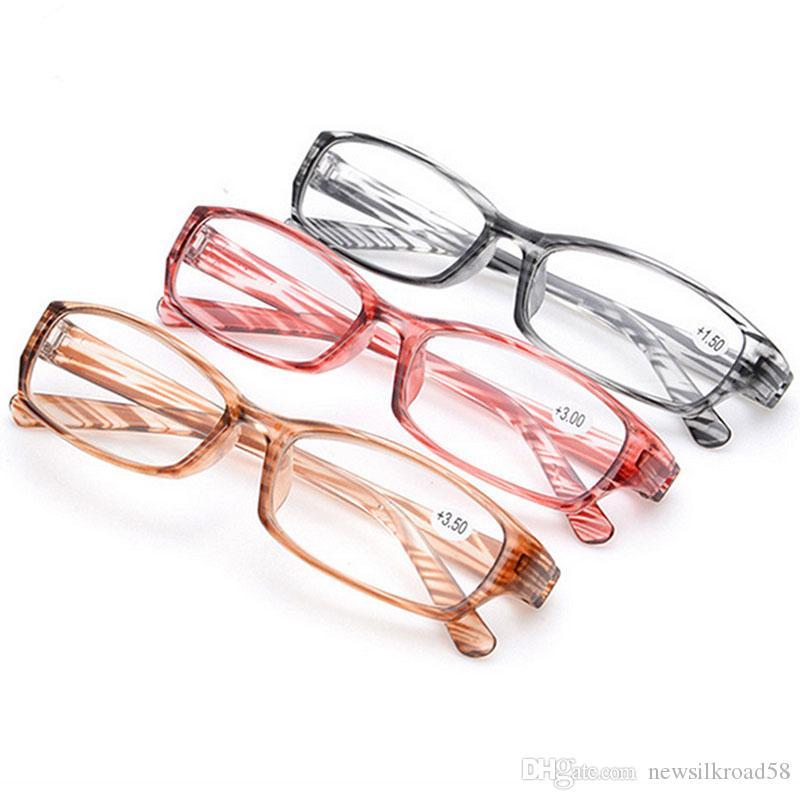 Comercio al por mayor Gafas de Lectura de Hipermetropía Gafas Presbópicas de Plástico Lente de Resina Gafas Transparentes Mujeres Unisex Gafas Marco de Lectura Raya