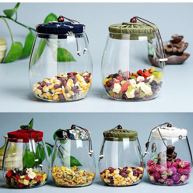 600ml Glass Storage Jar Kitchen Food Containers with Lid Glass Bottle Size 600 ml 4 color