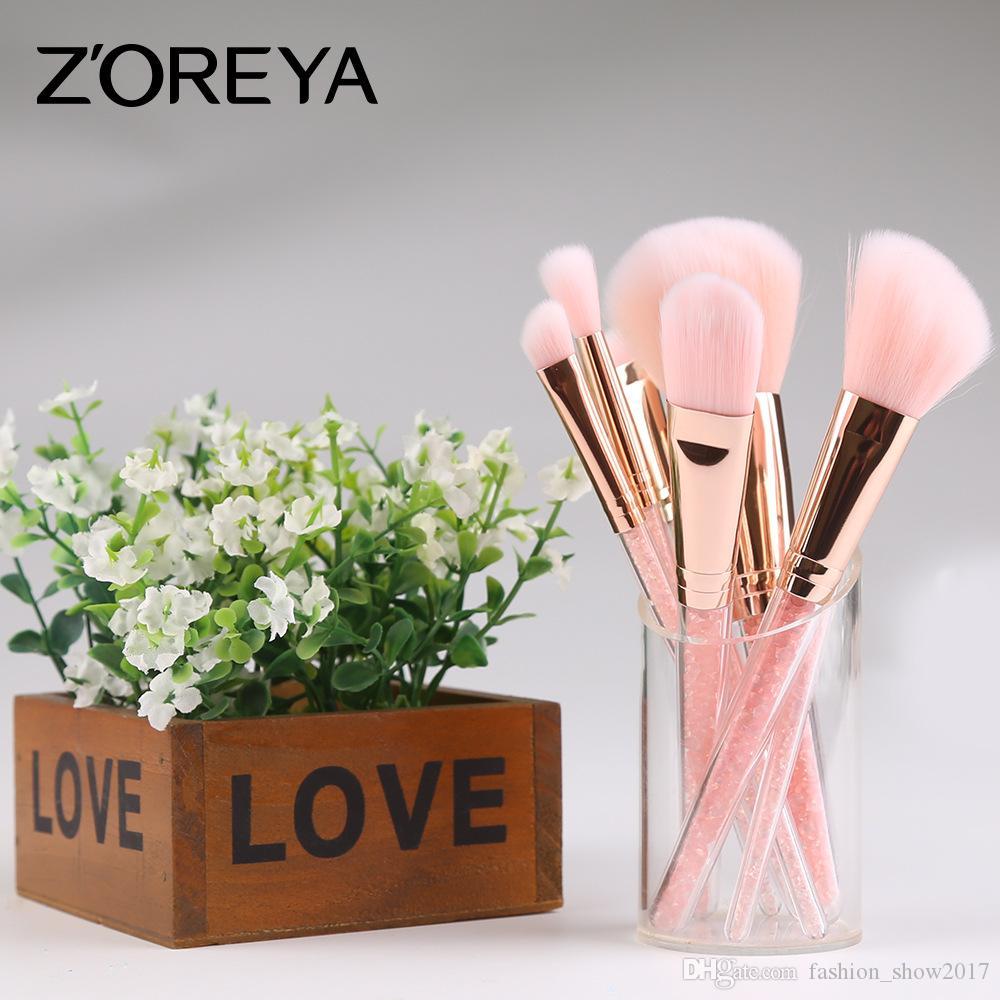 Hot Makeup Brushes Set 7 PCS Professional ZOERYA Flow Sand Drill Makeup Brush With Pink Bag