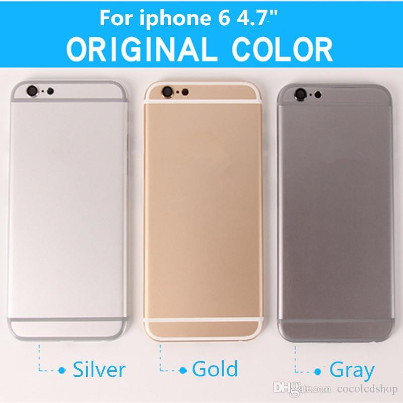 Per iPhone 6 6g Coperchio posteriore Coperchio completo Coperchio posteriore Coperchio batteria con pulsanti laterali Assemblaggio completo + Spedizione gratuita DHL