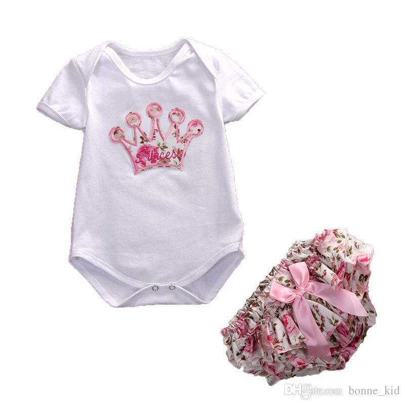 신생아 아기 소녀 꽃 의상 Romper + 반바지 2pcs 세트 꽃의 왕관 바보 여름 아기 소녀의 의류 부티크 옷