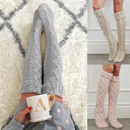 Chaussettes chaudes tricotées au genou pour femmes