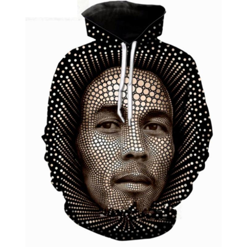 Sudadera con capucha y estampado 3D Bob Marley para hombre / mujer 2018 Tops Jersey J005