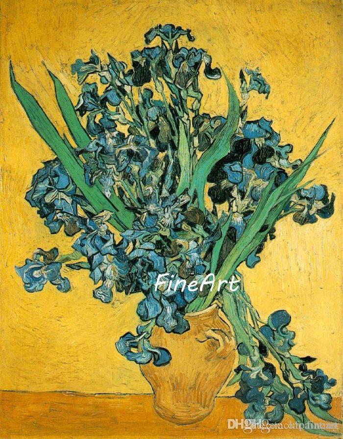 Pintura a óleo handmade vincent van gogh pinturas famosas reprodução Still Life Vaso com Íris de suspensão da arte da parede sala de estar decoração