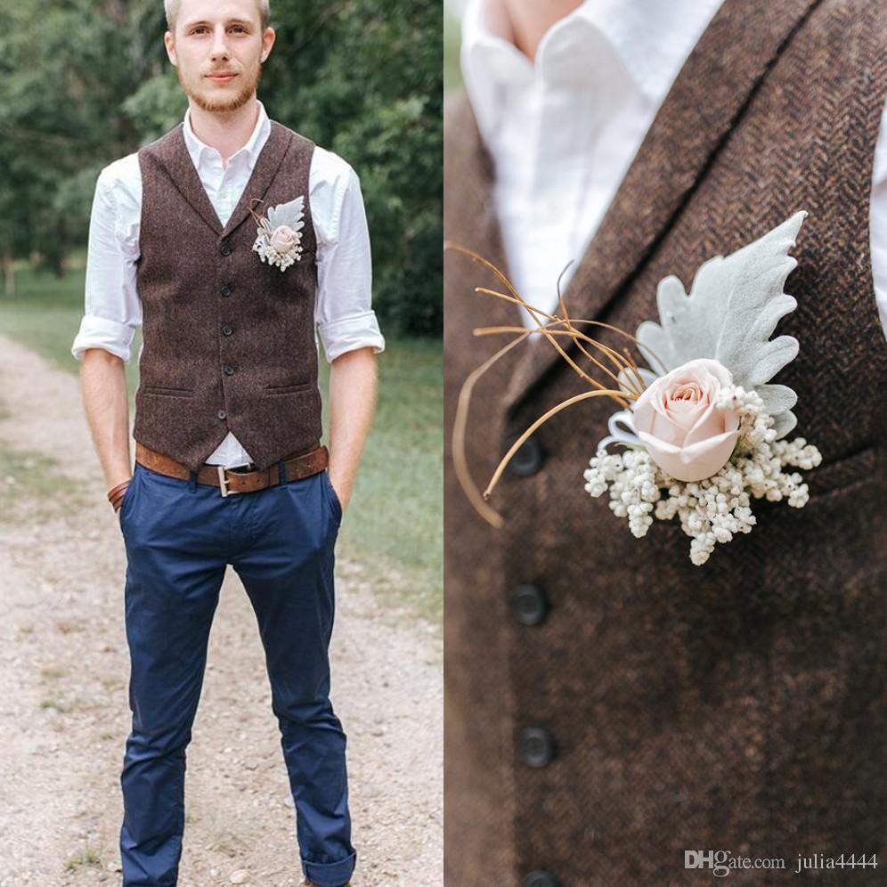 2019 Vintage Kahverengi tüvit Yelekler Yün Balıksırtı Göğüslü custom made erkek takım elbise terzi slim fit erkekler için Blazer d ...