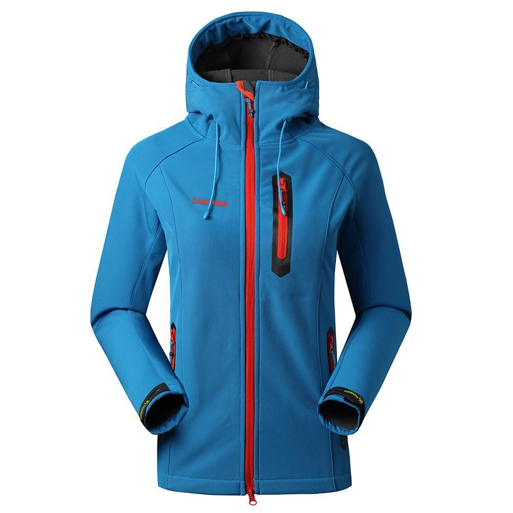 Desgaste ao ar livre Saenshing Softshell Jacket Mulheres Marca Waterproof chuva Brasão Outdoor Caminhadas Vestuário feminino à prova de vento Soft Shell Velo Jackets