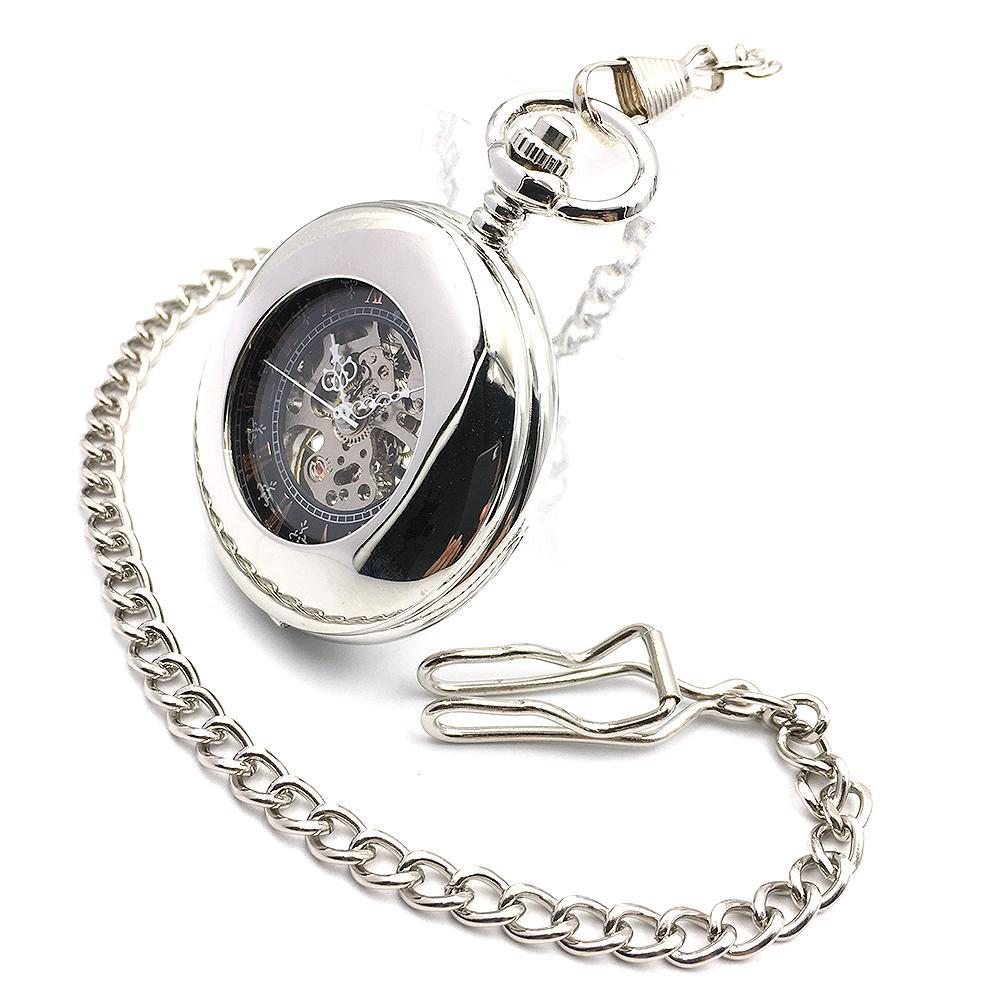 투명 케이스 로마 블랙 승 / 체인 골동품 육군 해골 스팀 펑크 시계를 와인딩 남성 실버 회중 시계 기계 손을 다이얼