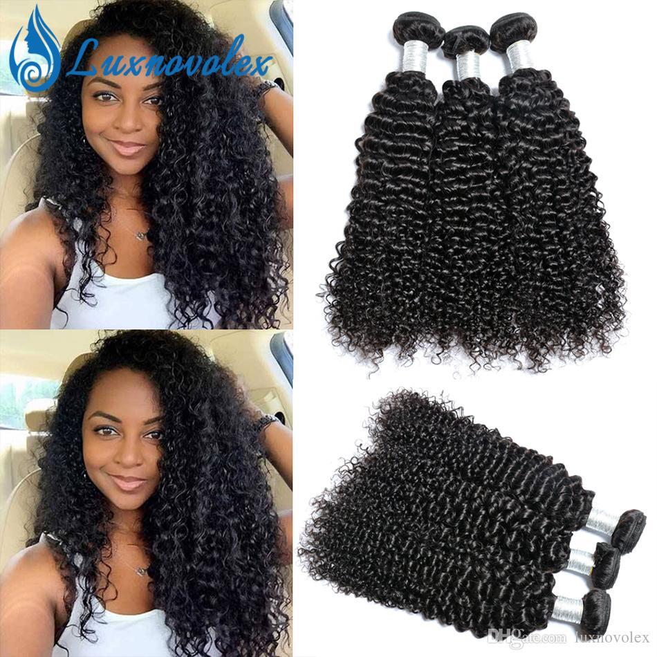 Cabelo Humano Brasileiro Kinky Curly Cabelo Bundles Malaysian Peruano Indian Curly Virgin Hair 3 ou 4 Bundles Cor Natural Dyeable