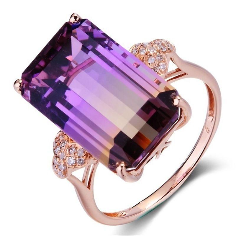 Роскошные женские украшения созданы мистическая Радуга Топаз Кристалл Принцесса вырезать посеребренные 18K розовое золото бриллиантовое обручальное кольцо размер 6-10 AB 1368