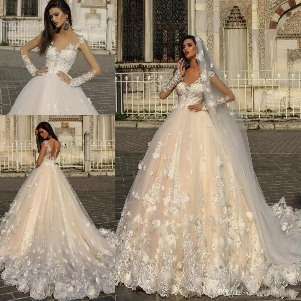 Gorgeous Long Sleeves Lace Wedding Dresses 2019 With Beaded Appliques  Cathedral Train A Line Wedding Bridal Gowns Red Ball Gown Wedding Dresses