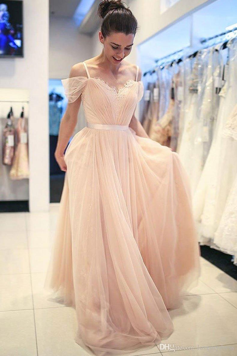 Großhandel Elegante Nude Kalte Schulter Günstige Abendkleider Tulle 11  SpitzeApplique Ruched Lange V Ansatz Abend Festzug Formale Kleid Kleider  Plus