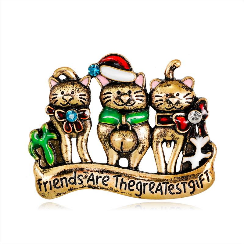 Wholesalethree Cat Cute Cartoon Brooches and Pins Gift Xmas Crystal Brooch Gift Pin Tooth Brooches Pins Jewelry Brooches for Men Women