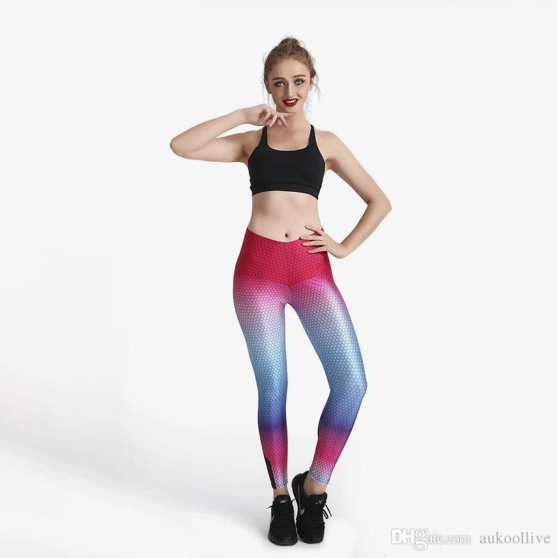 Colorful Hexagon Digital Printed Yoga Pants Hot Sale High Quality Sports Pants Lady's Leggings Gym Exercise Clothing
