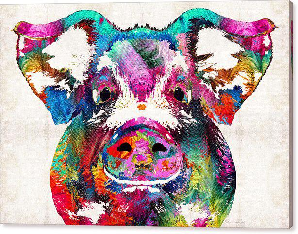 YJ ART colorful pig Modern Canvas Wall Art for Home and Office Decoration Oil Painting Print Animal on Canvas 60x90cm